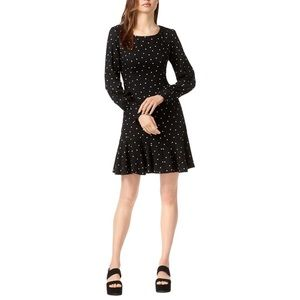 Black ruffled hem polka dotted Bar III dress